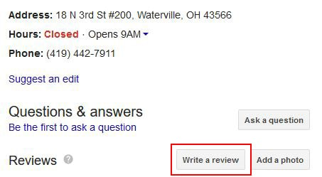 write a review button on Google